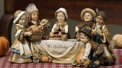 "10.5"" Pilgrim Kid Thanksgiving Table Scene"
