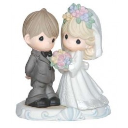 Precious Moments Porcelain Bride and Groom Wedding 143013 Figurine