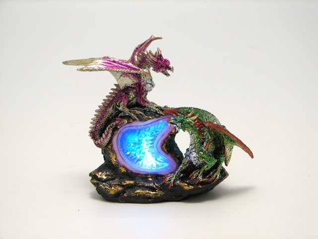 Purple and Green Dragons on Geode with LED Lights